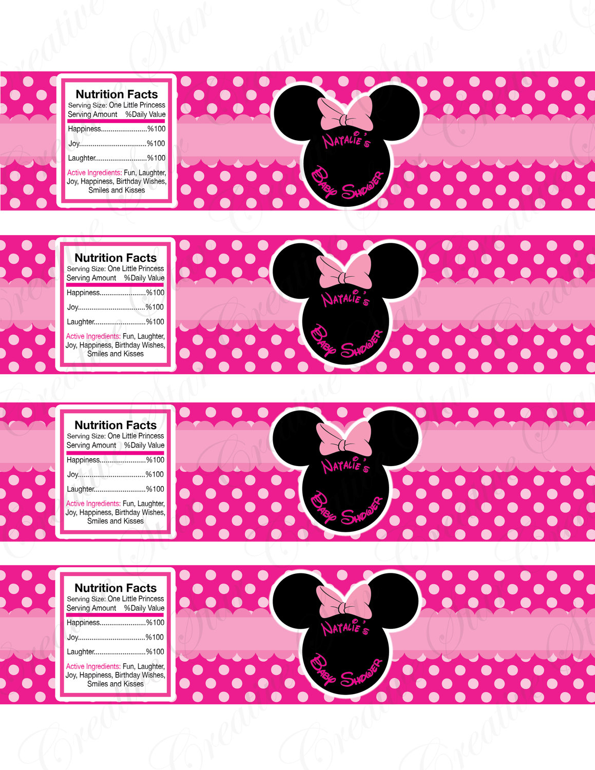 Minnie Mouse Water Bottle Labels Template Popular Samples Templates Throughout Size 1159 X 1500
