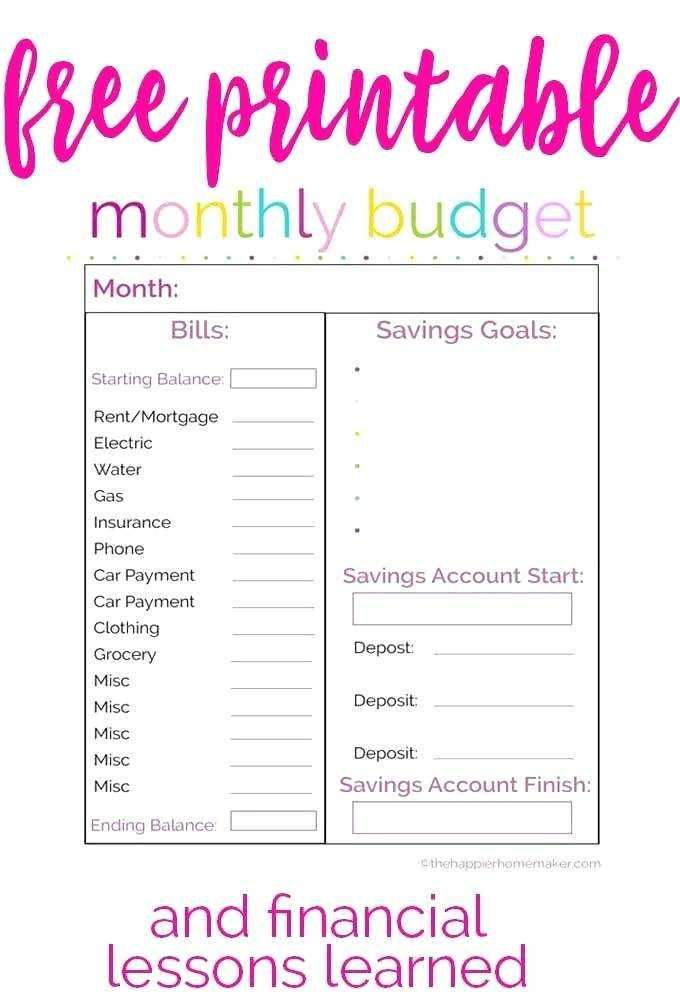 Monthly Bill Planner Template Free