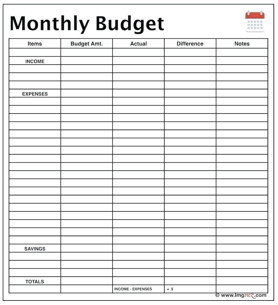 Monthly Income And Expense Template