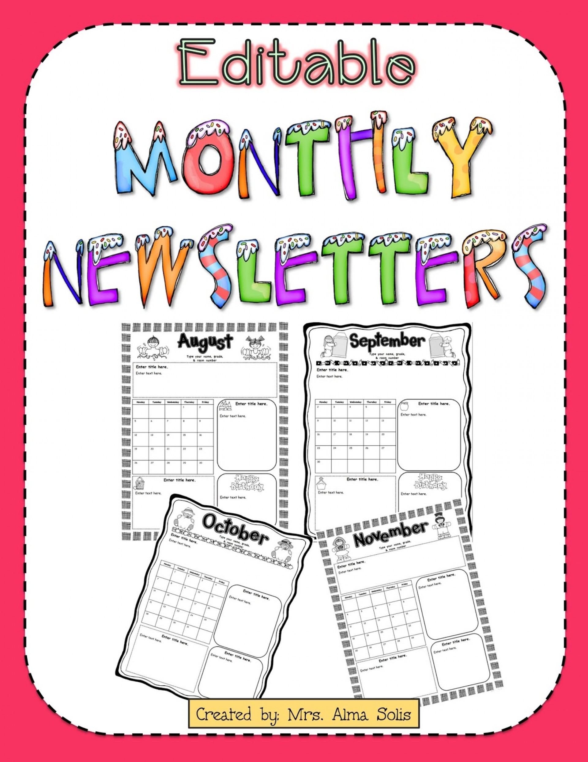 Monthly Newsletter Newsletter Templates Word