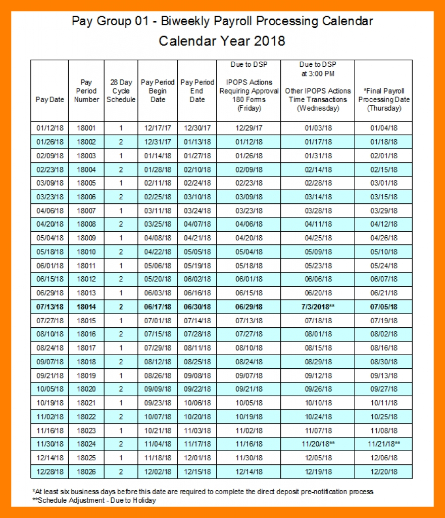 Monthly Payroll Schedule Template