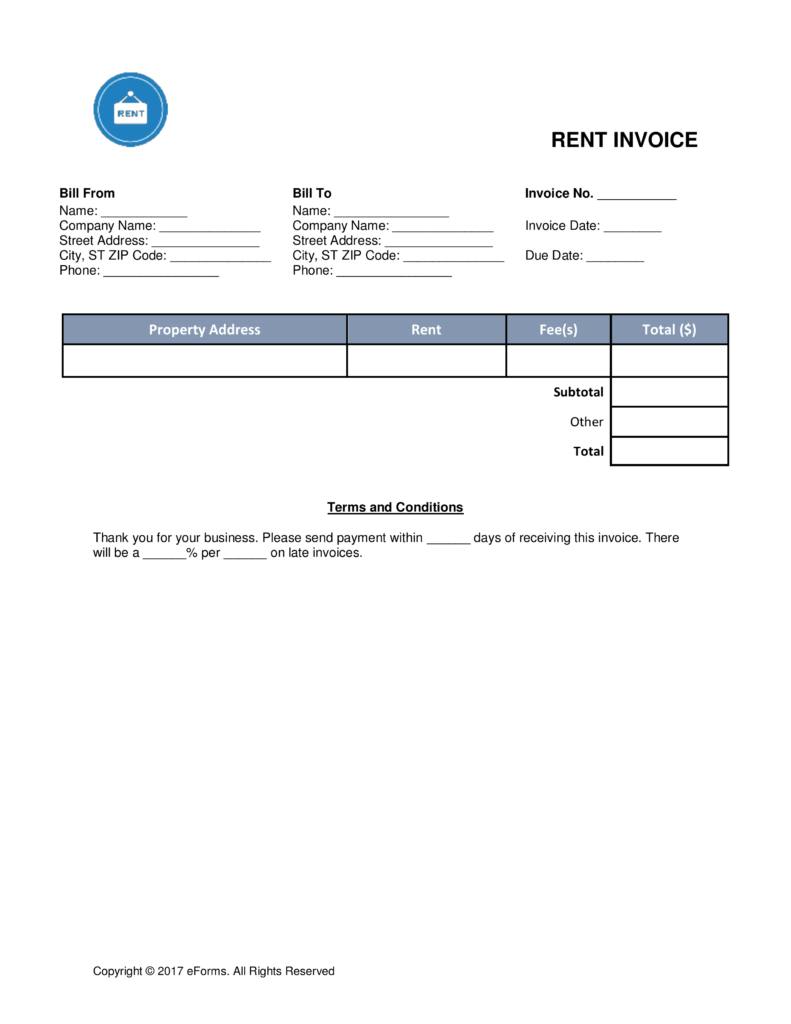 Monthly Rental Invoice Template