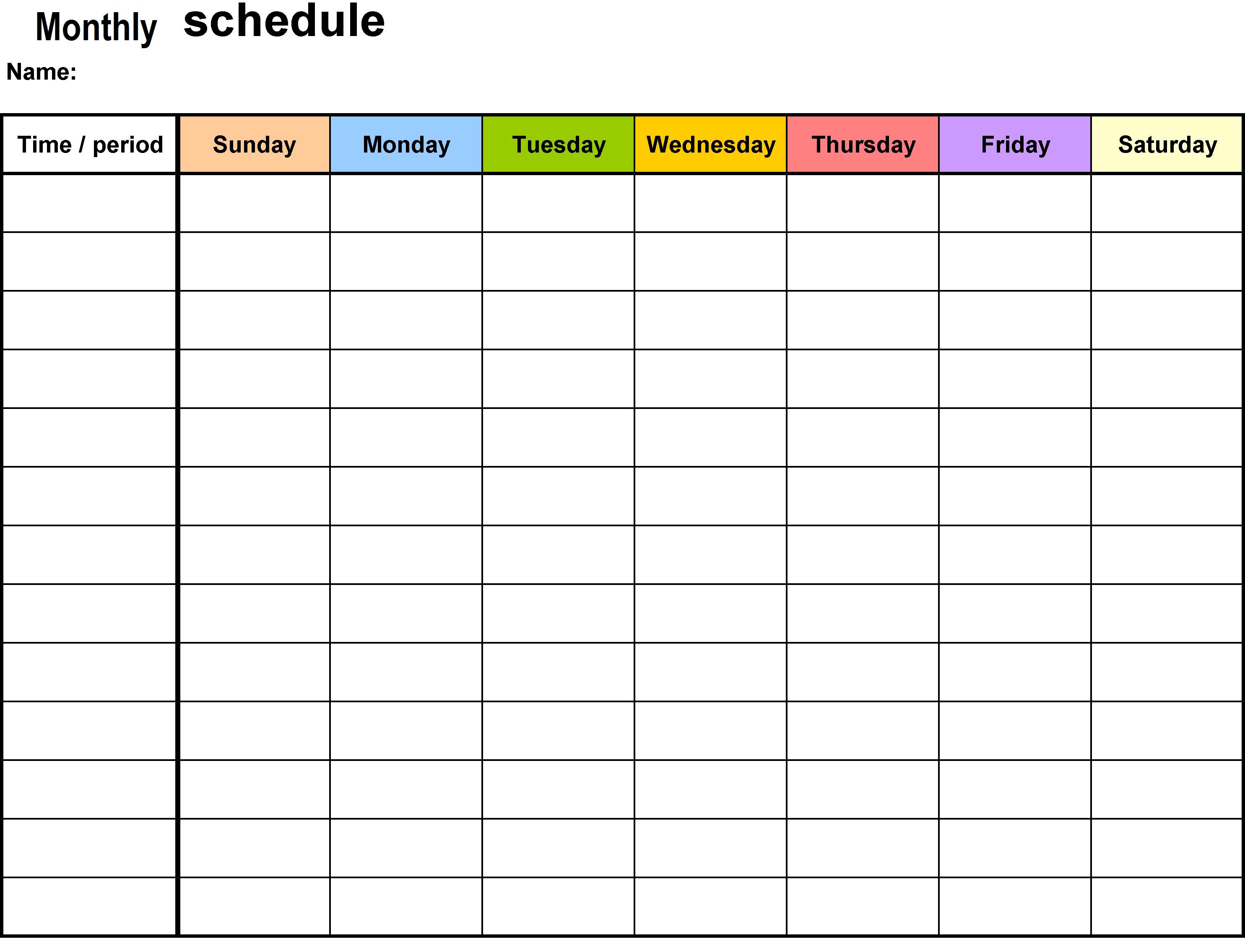Monthly Schedule Planner Template
