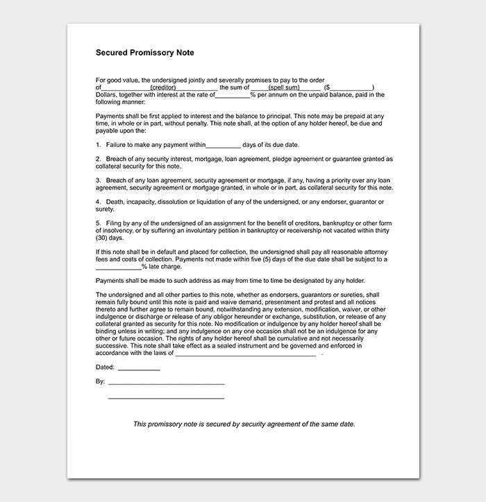 Mortgage Note Template
