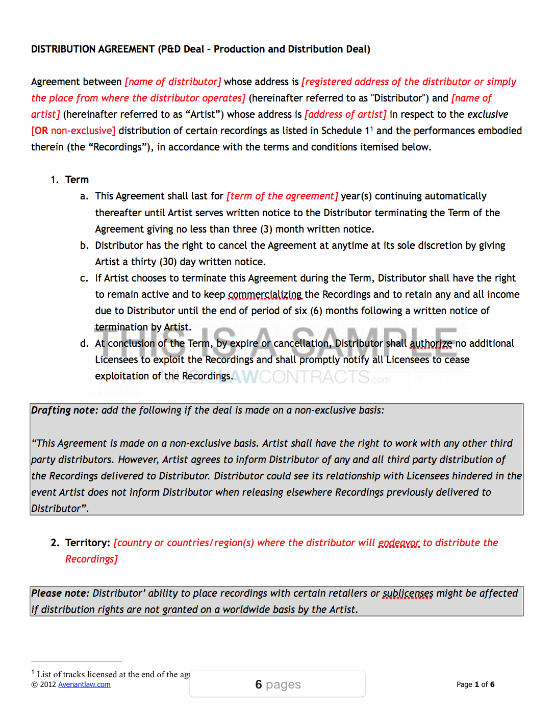 Music Distribution Contract Template