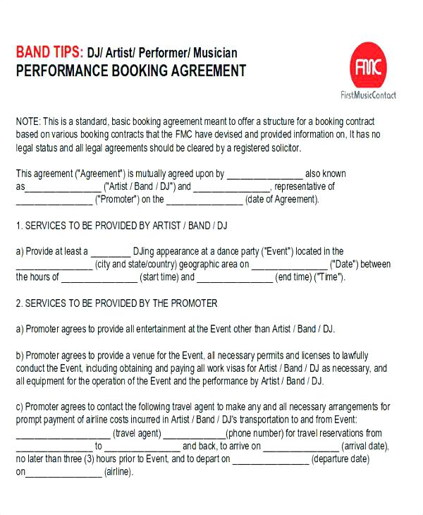 Musician Artist Booking Contract Template
