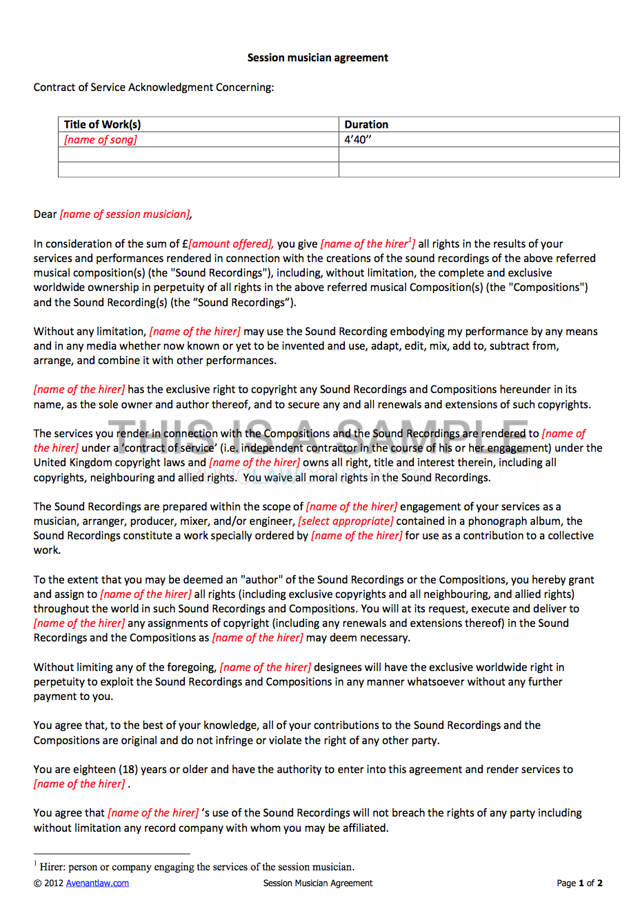 Musician Contract Template