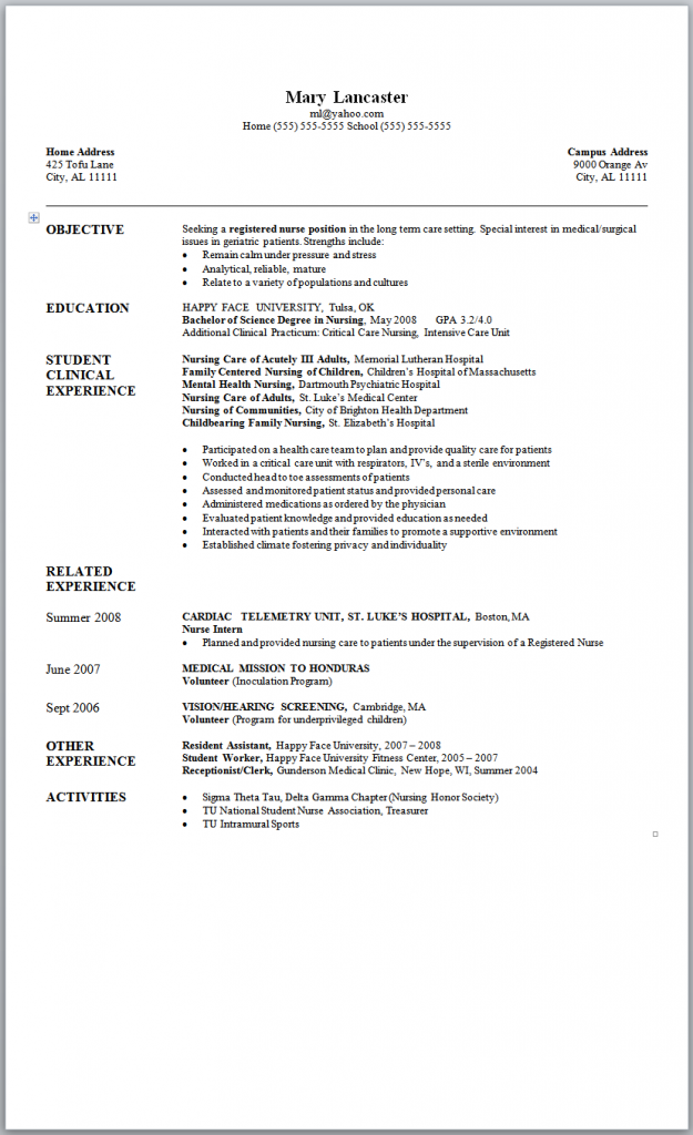 New Graduate Nurse Resume Template