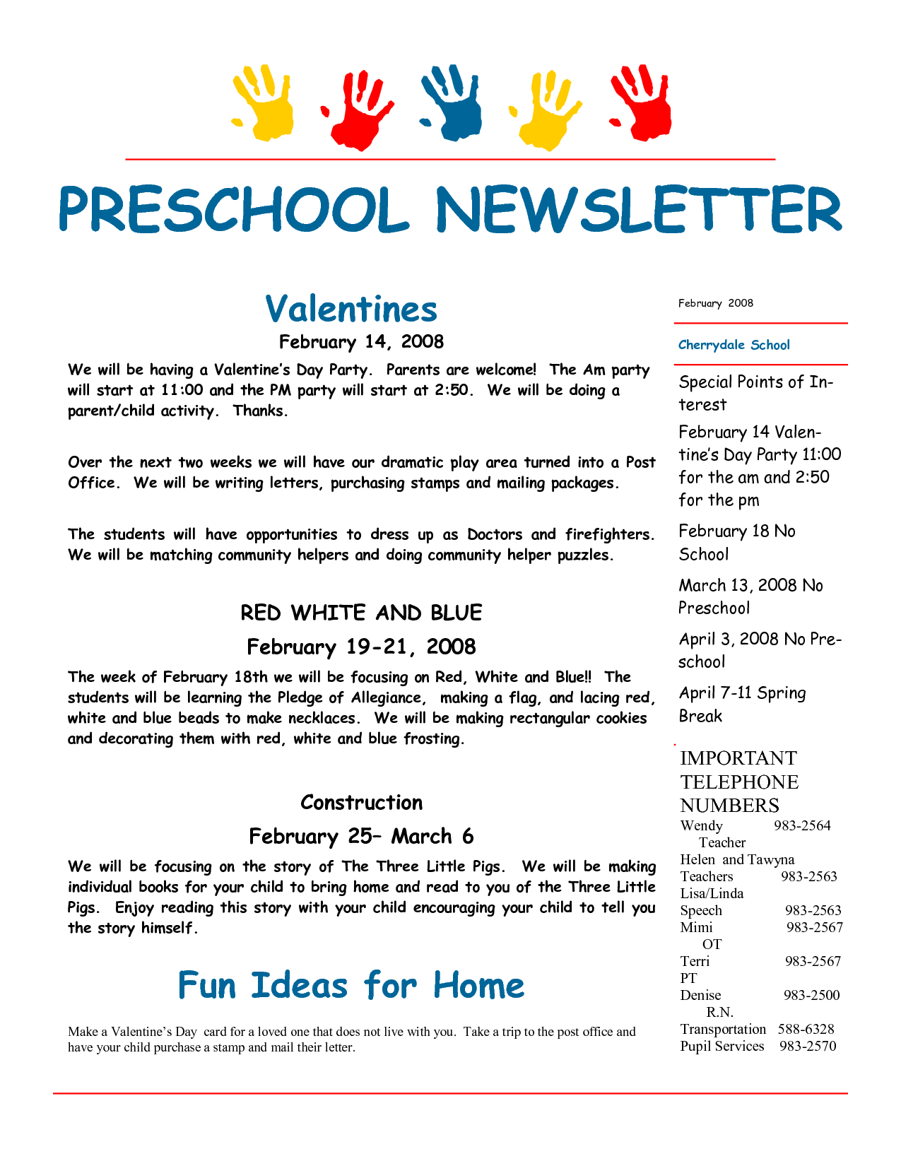 Newsletter For Preschool Parents Template