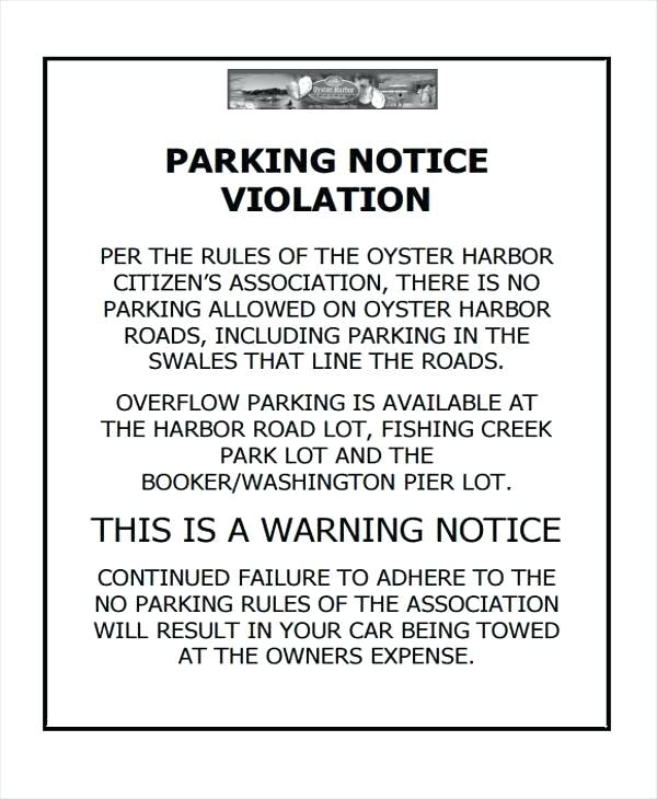 No Parking Notice Template
