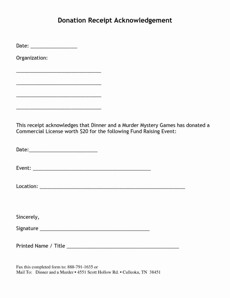 Non Profit Donation Acknowledgement Letter Template