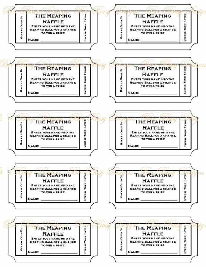 Numbered Raffle Ticket Template Printable
