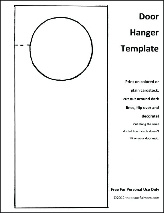 Outline Door Knob Hanger Template