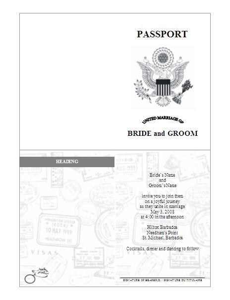 Passport Invitations Template