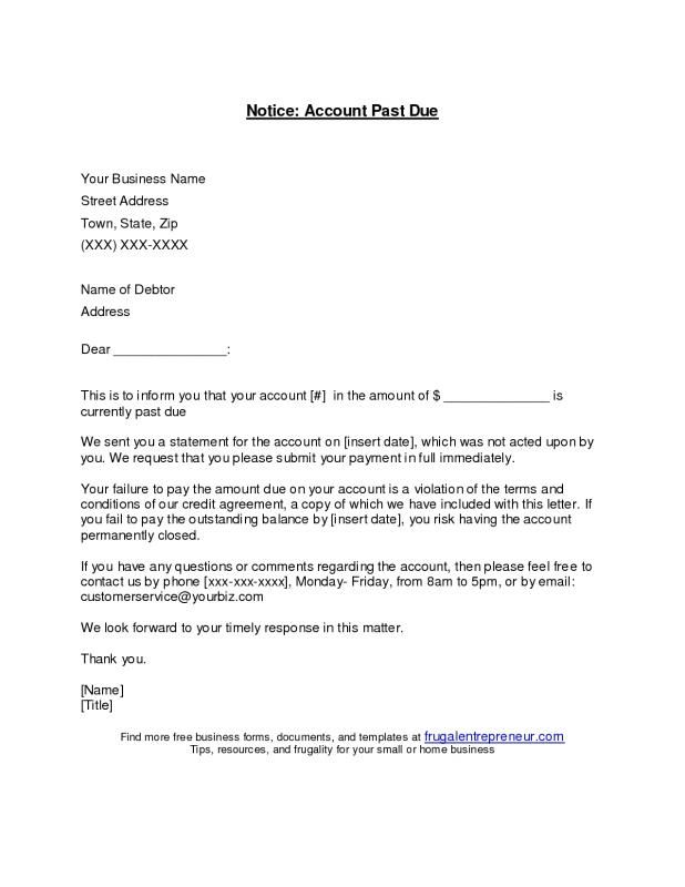 Past Due Invoice Letter Template