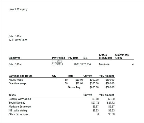 Pay Statement Template Canada