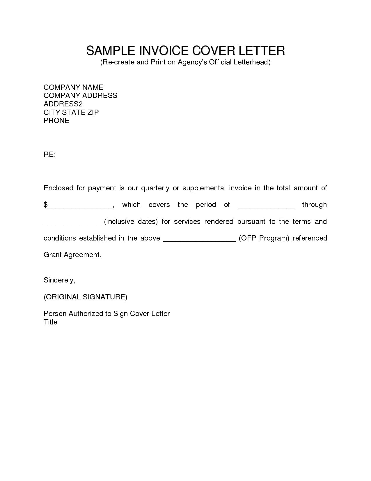 Payment Invoice Letter Template