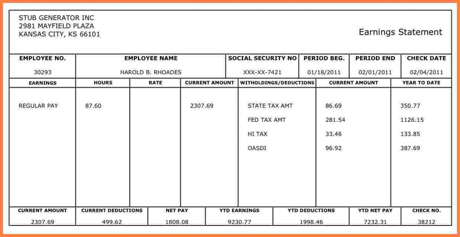 Payroll Check Stub Template Excel