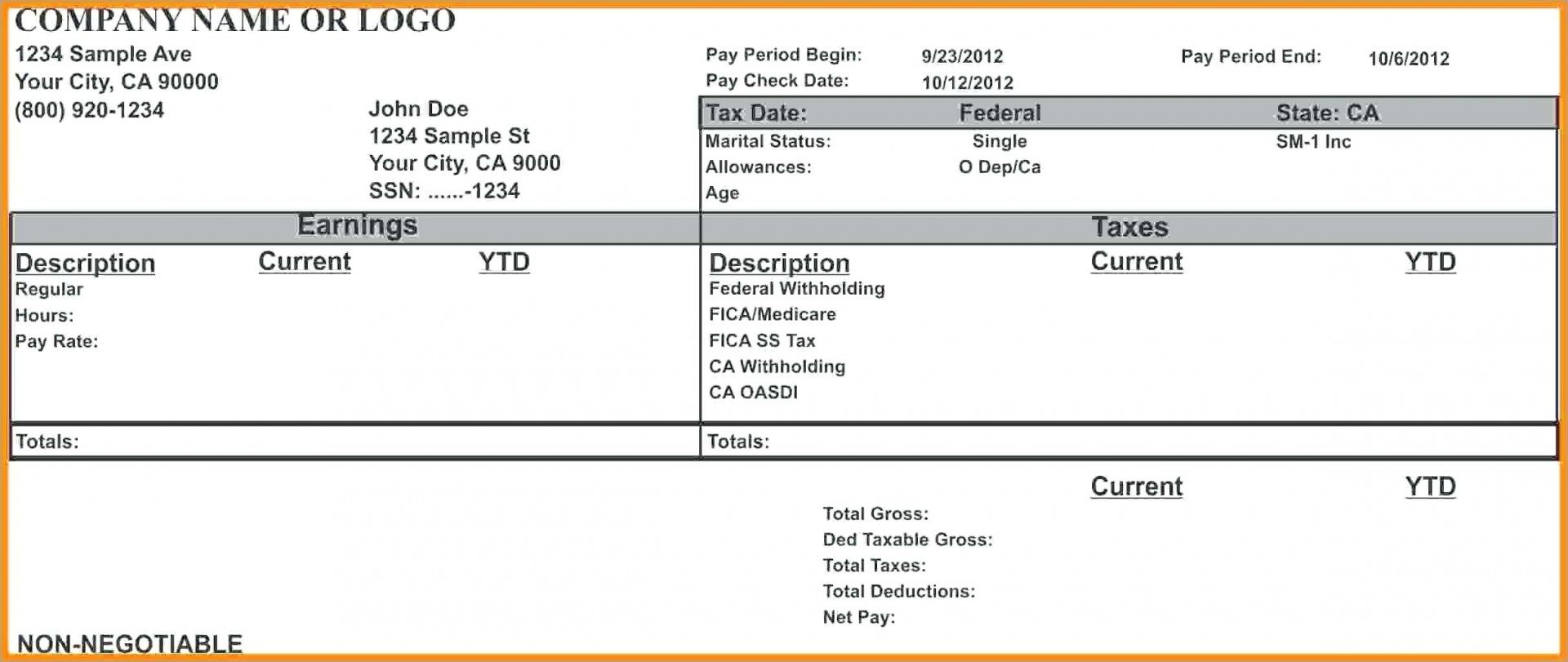 Payroll Check Stub Template Free