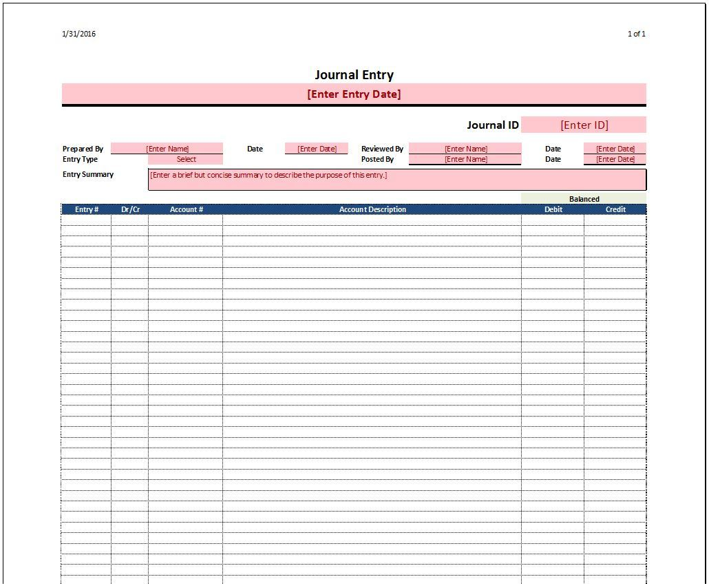 Payroll Journal Entry Template Excel