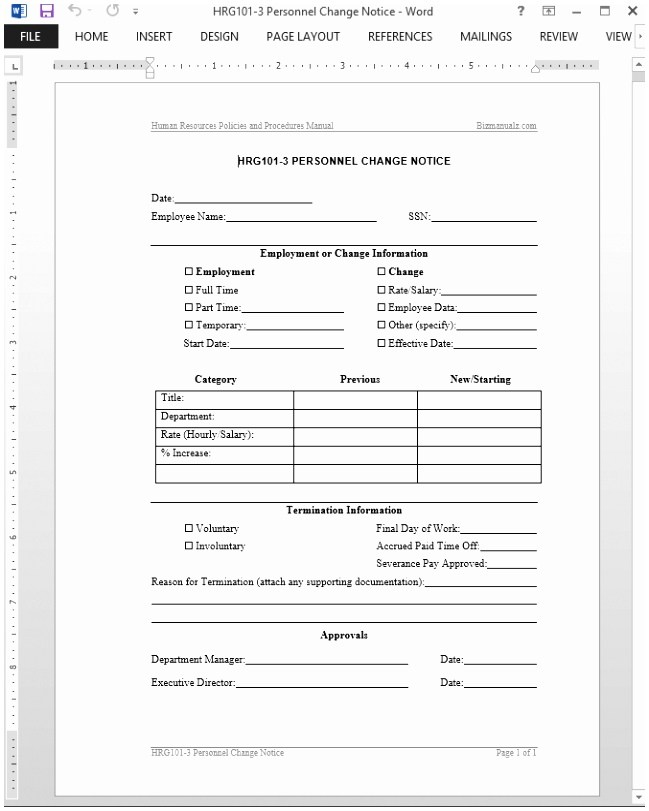 Personnel Change Notice Template Free Payroll Change Notice Form Template Fresh Doc Xls Letter Download Templates Wphwo