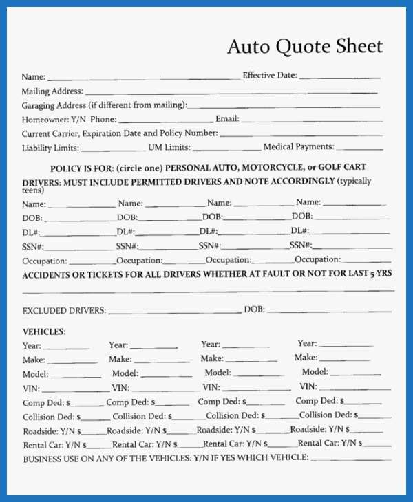 Auto Insurance Template Awesome 7 Quote Sheet Template Word Pdf