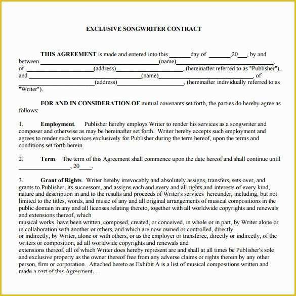 Musician Contract Template Free Of 20 Music Contract Templates Word Pdf Google Docs