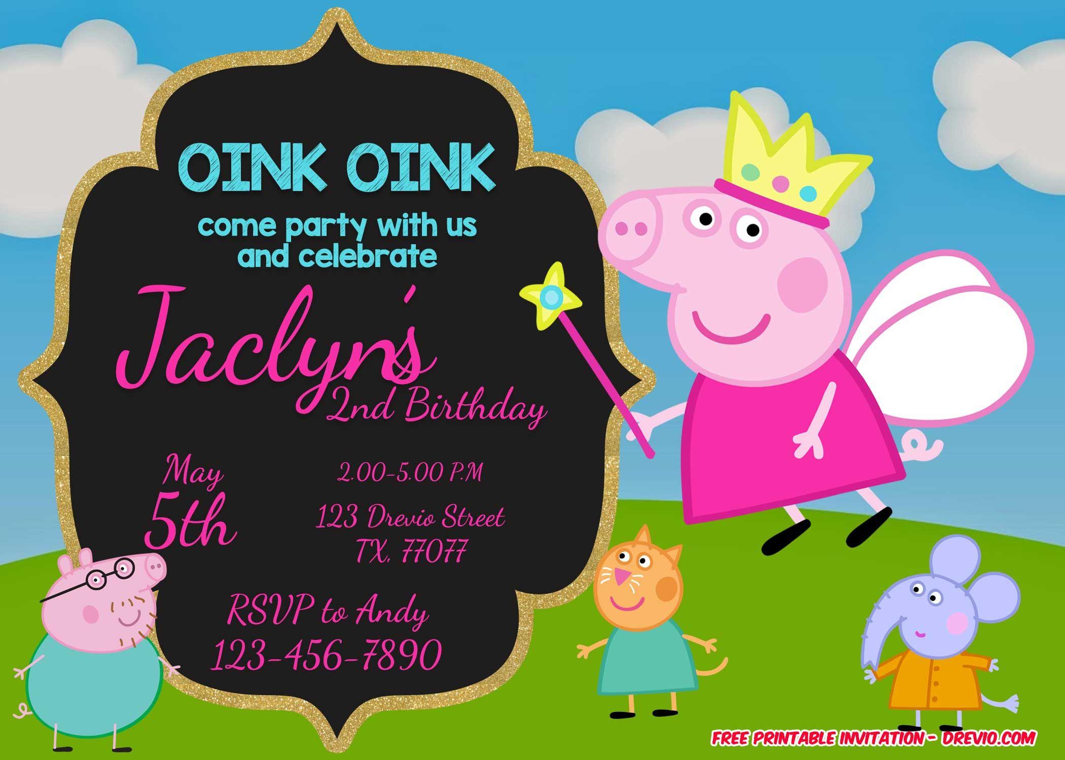 Peppa Pig Birthday Invitation Template