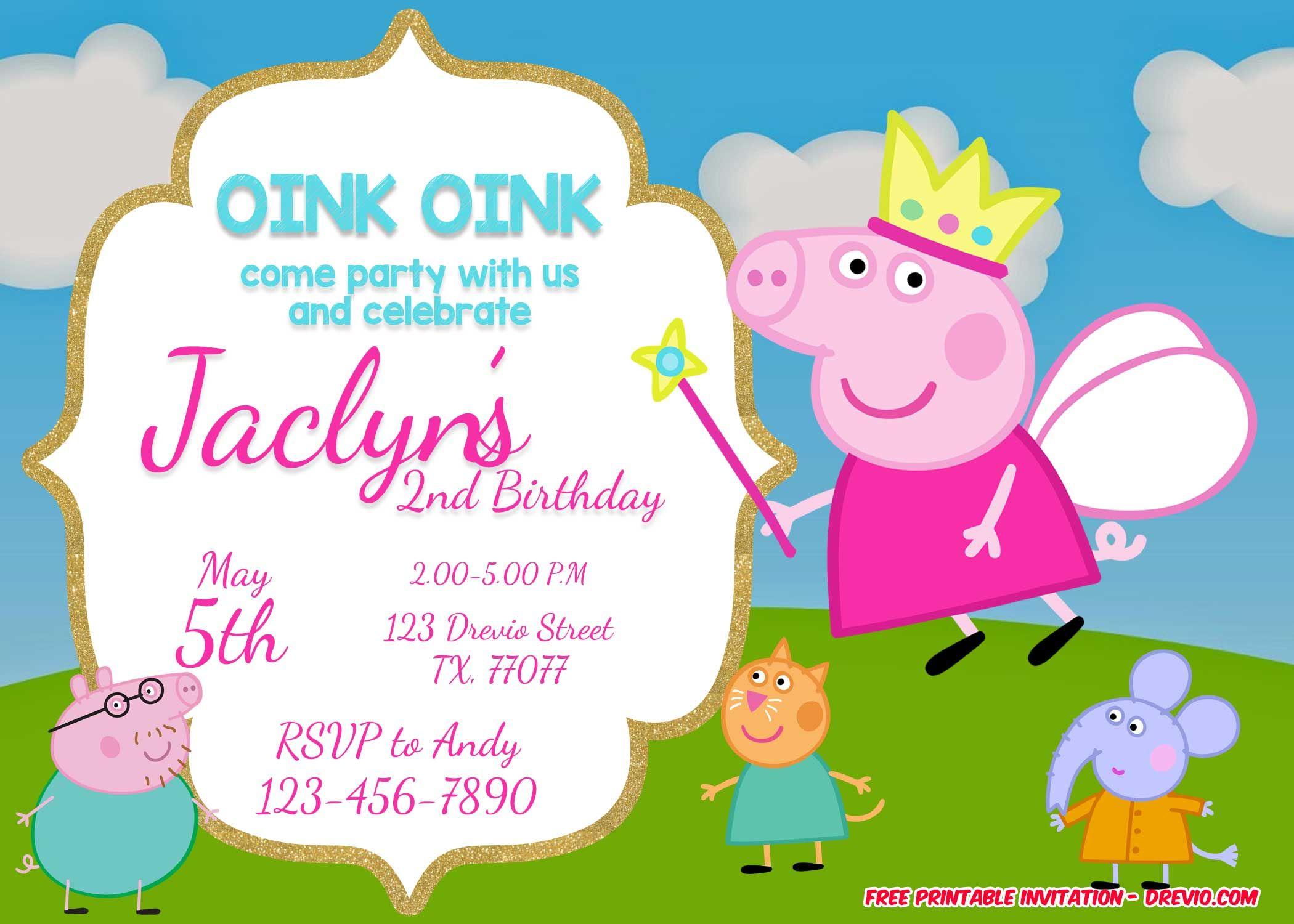 Peppa Pig Birthday Party Invitation Template Free