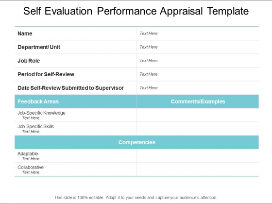 Performance Appraisal Self Evaluation Templates