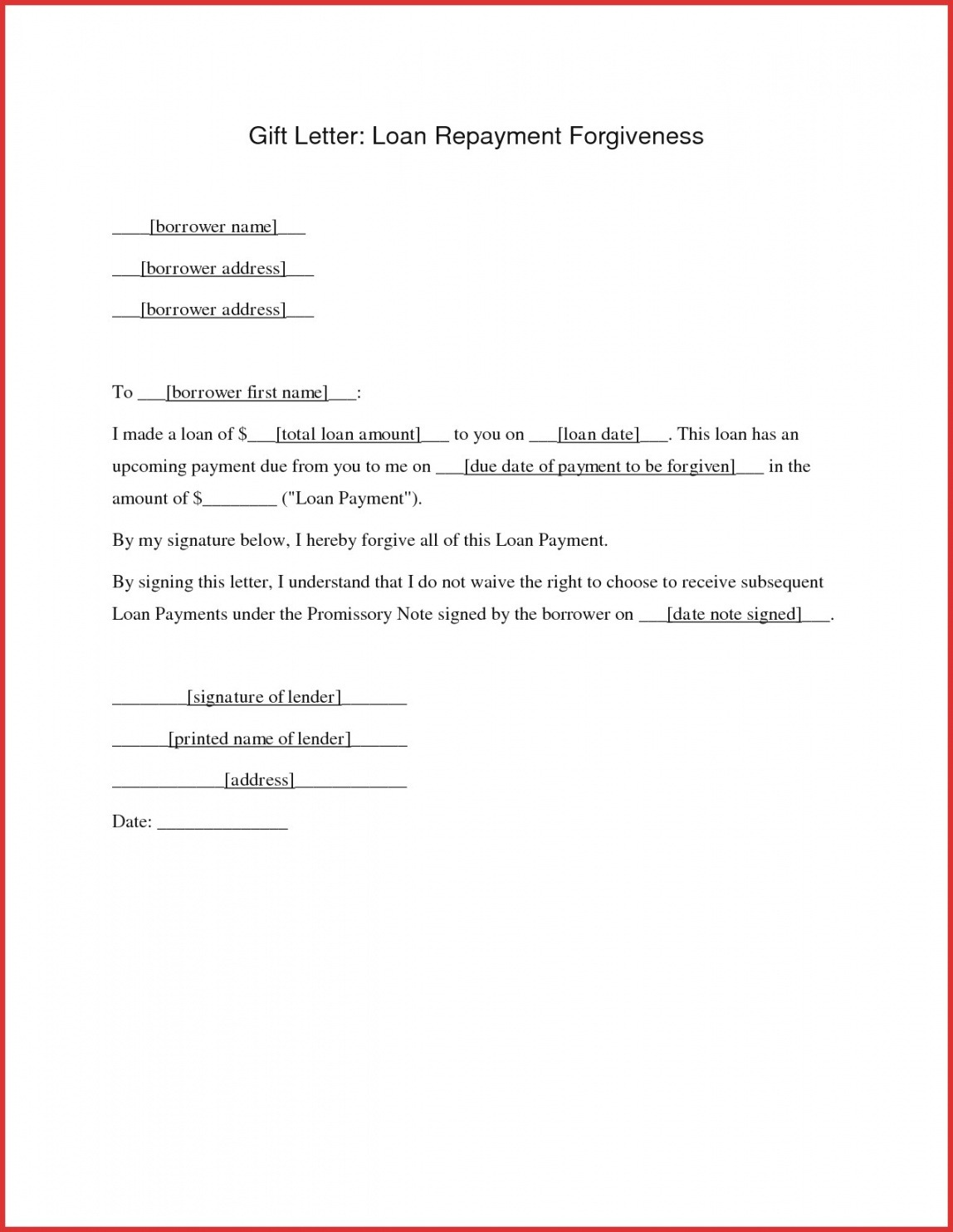 Personal Loan Letter Template