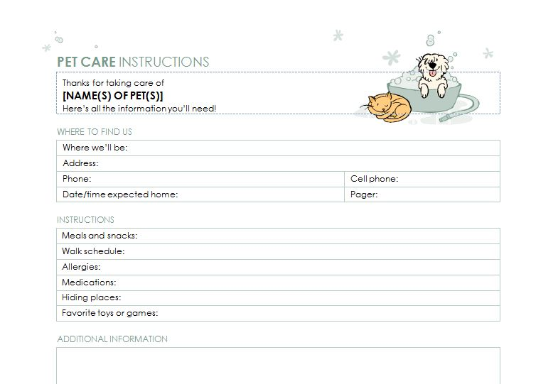 Pet Sitter Checklist Template