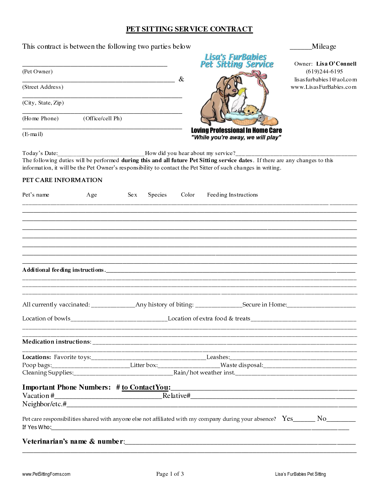 Pet Sitting Contract Template Uk
