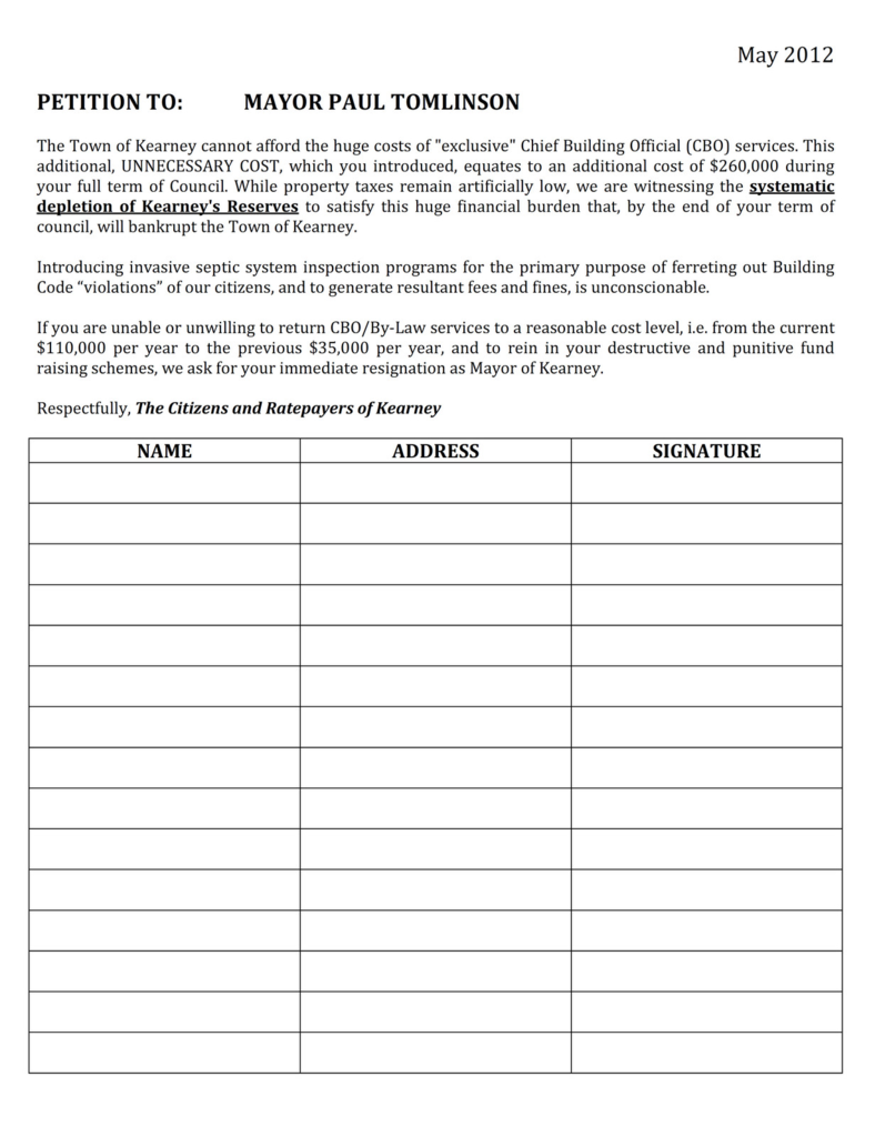 Petition Form Neighborhood Petition Template