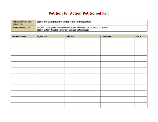 Petition Form Template Printable