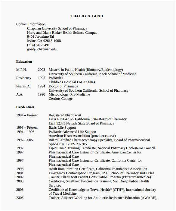Pharmacist Resume Template Most Useful Sample Pharmacist Resume 9 Download Documents In Pdf