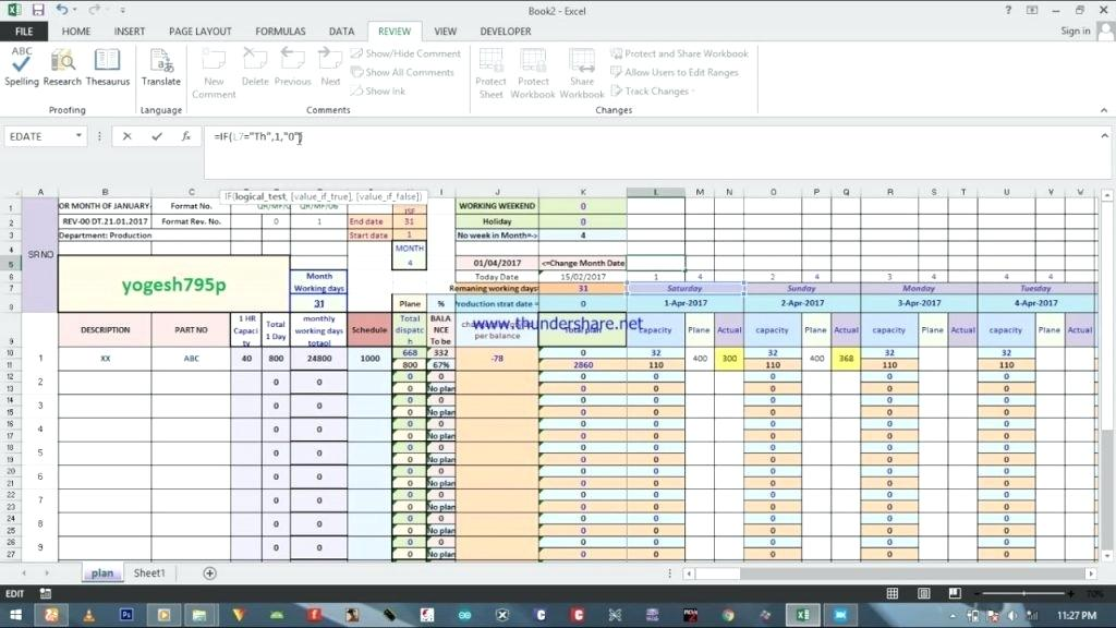 Planner Monthly Schedule Template Excel