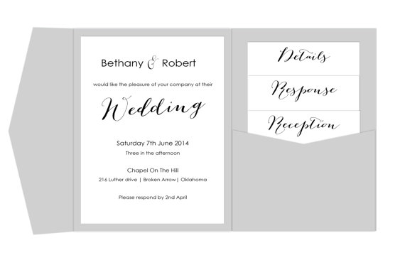 Pocket Fold Wedding Invitation Template