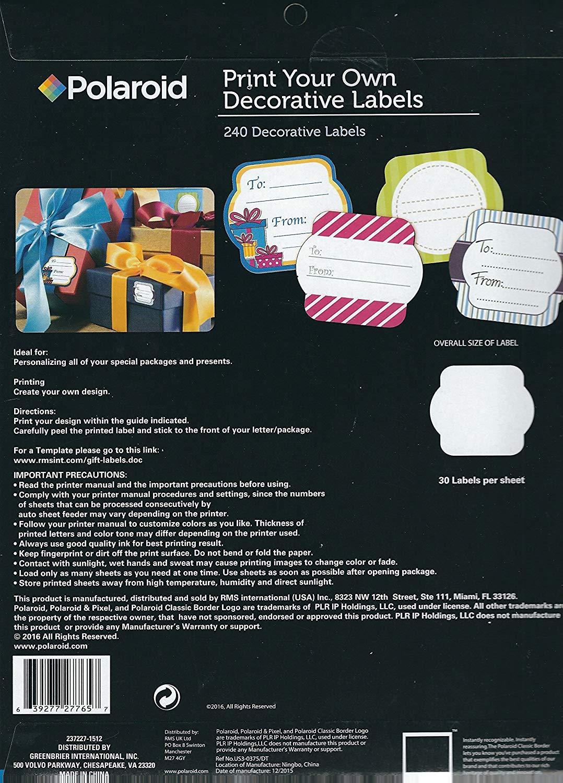 Polaroid Decorative Label Template