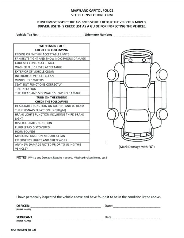 Police Vehicle Inspection Template
