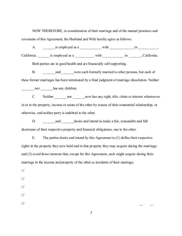 Postnuptial Agreement California Template