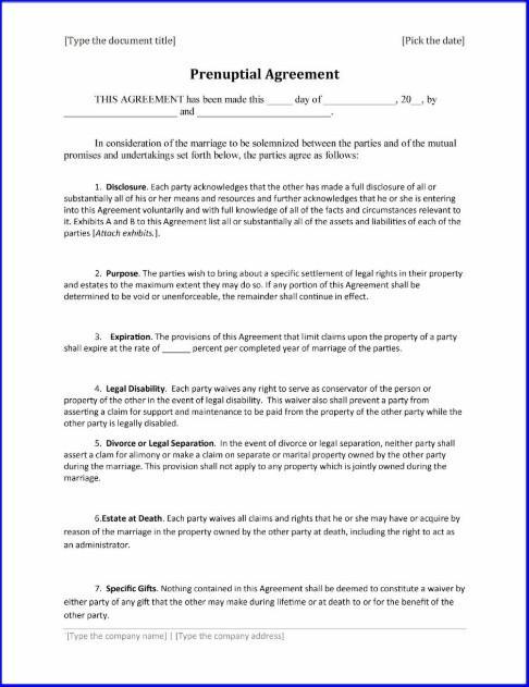 Prenup Agreement Template Usa