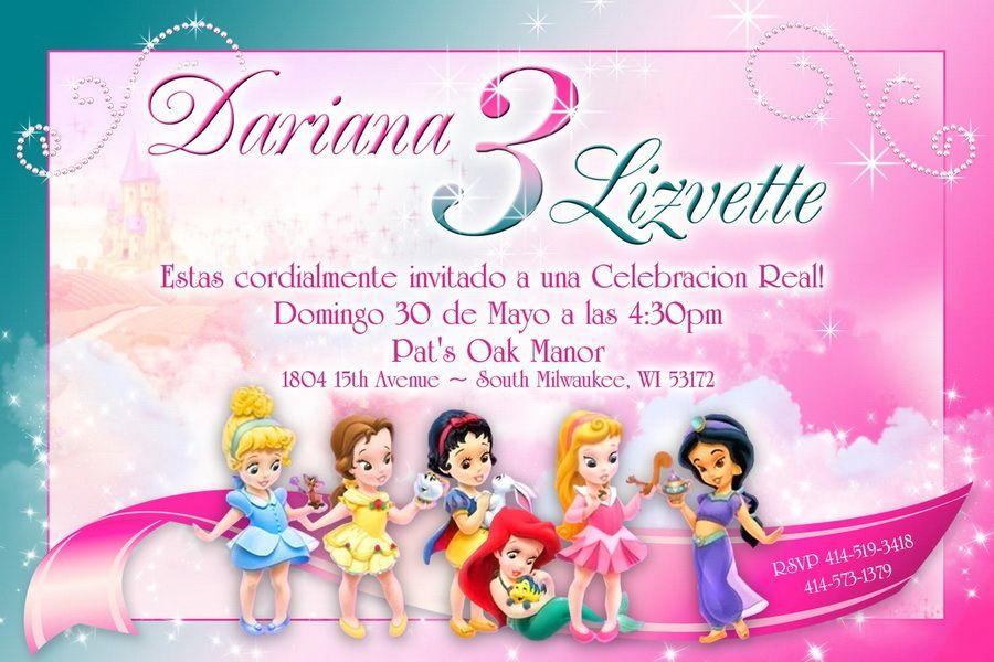 Princess Editable Birthday Invitations Templates Free