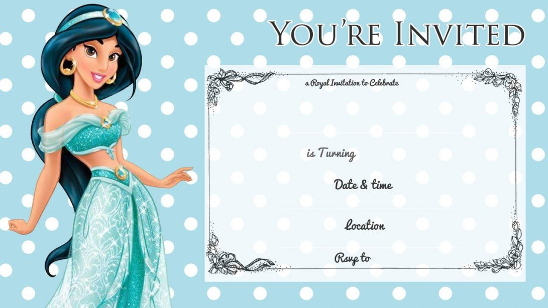 Princess Jasmine Invitation Template Free