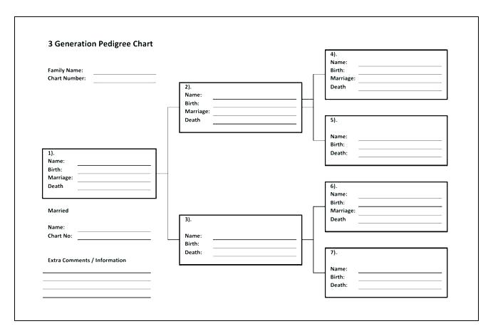 Printable 3 Generation Pedigree Chart Template