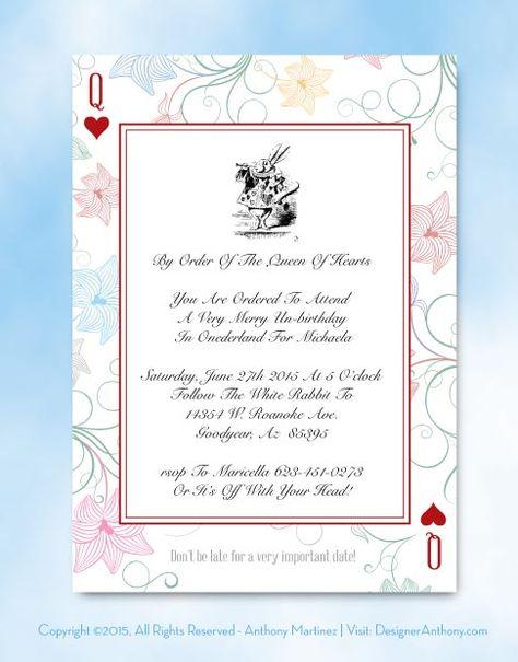 Printable Alice In Wonderland Invitation Template Free