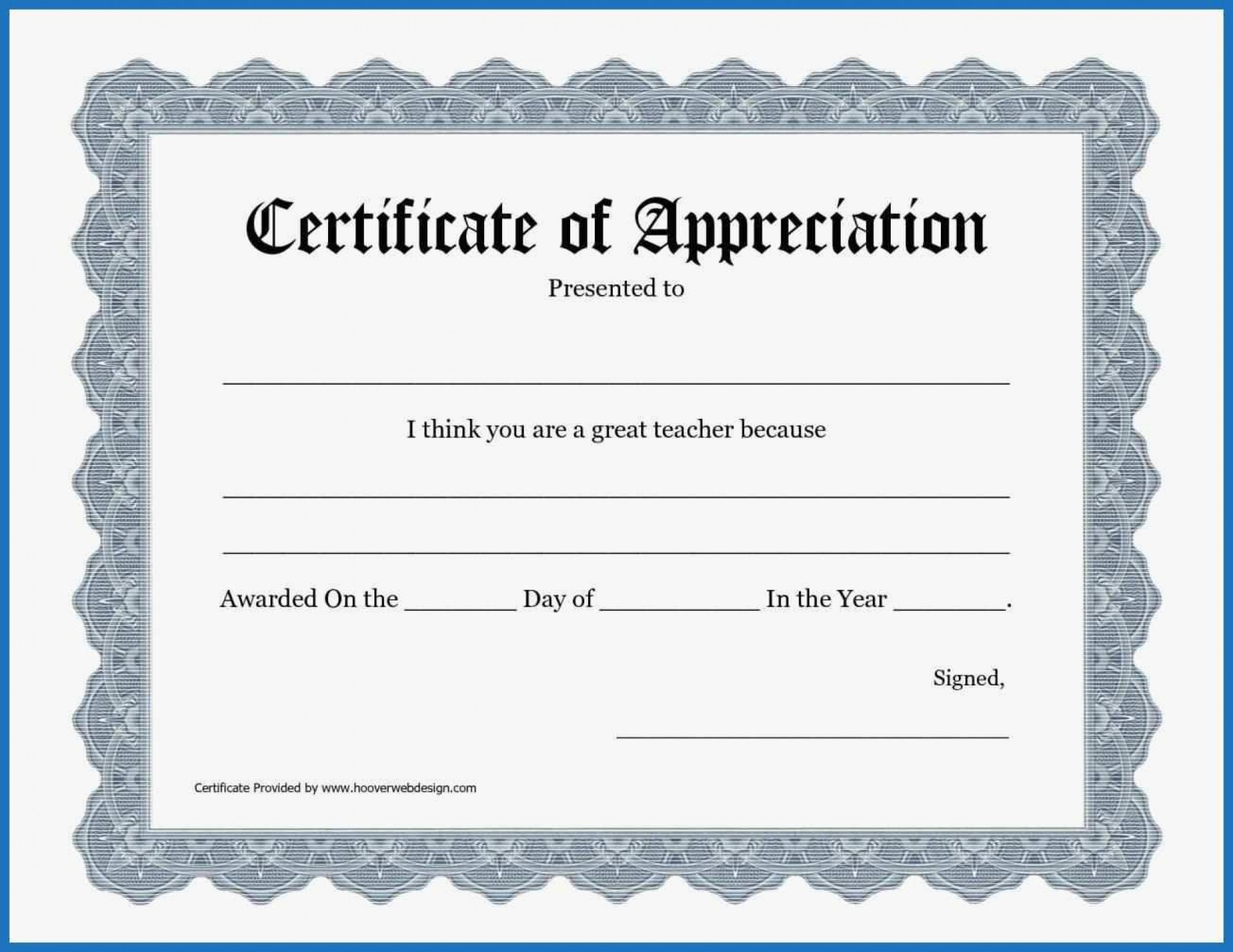 Printable Appreciation Certificate Templates
