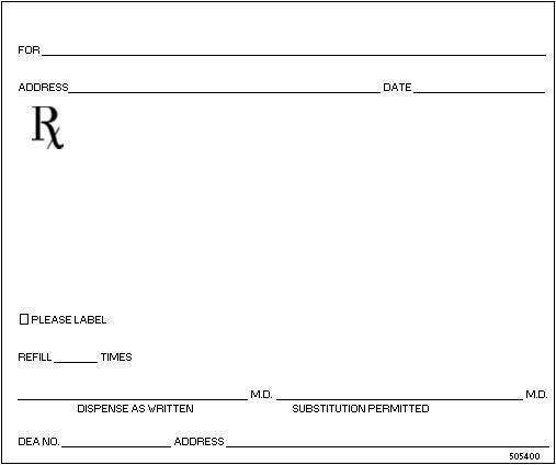 Printable Blank Prescription Pad Template