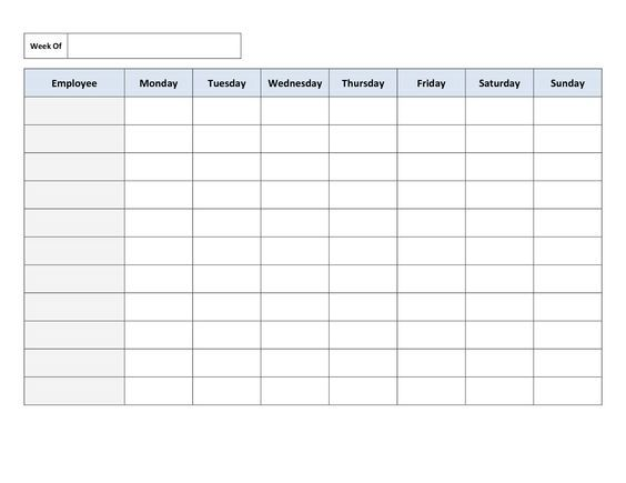 Printable Blank Work Schedule Template