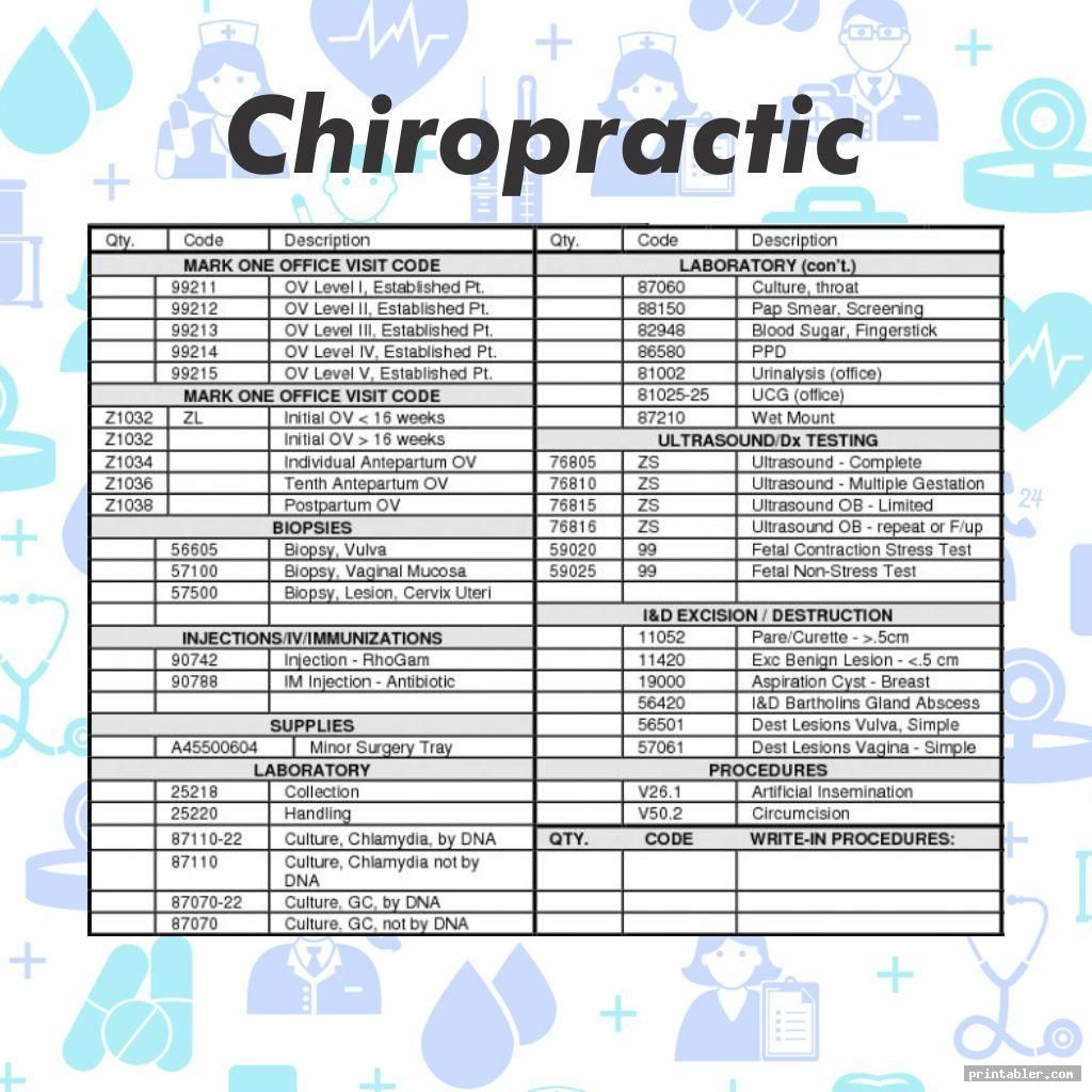 Printable Chiropractic Superbill Template